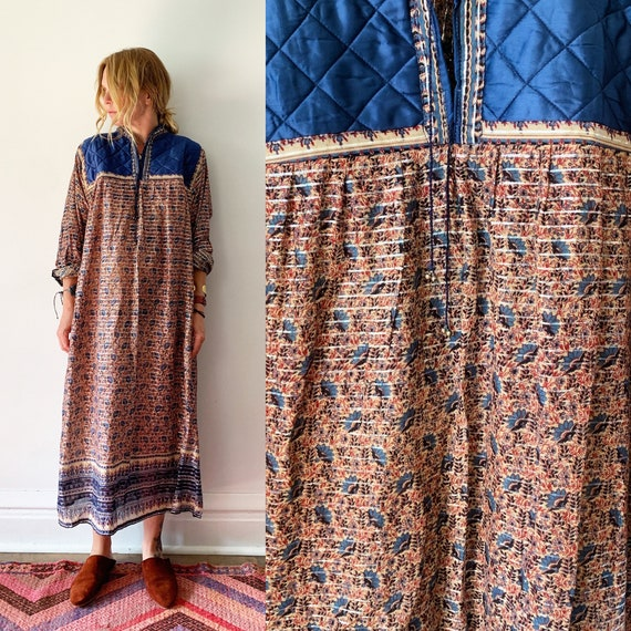 Vintage 70s India Cotton Gauze Dress , Block Print Maxi Dress , Indian Lurex Kaftan , Indian Metallic Kaftan