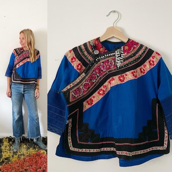 Vintage Thai Tribal Jacket , Ethnic Bolero Jacket , Hmong Tribal Jacket , Hill Tribe Jacket