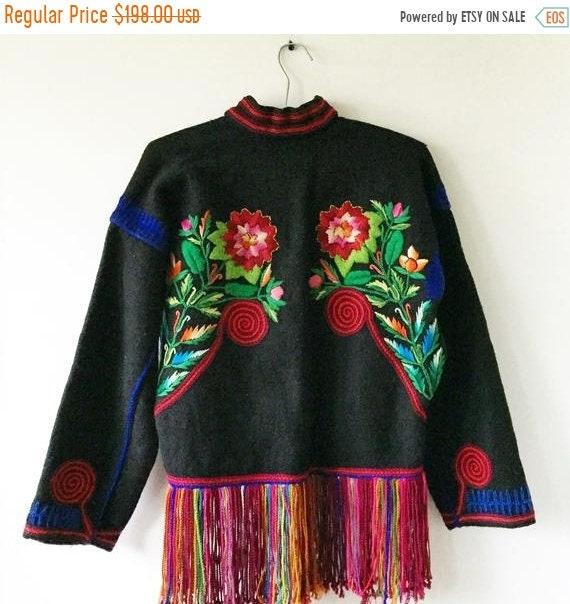 SALE 20% OFF Vintage Embroidered Wool Guatemalan Bolero , Embroidered Ethnic Jacket , Friend Cropped Jacket