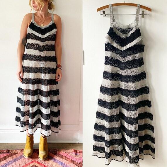Vintage Crochet Midi Dress , Crochet Striped Dress