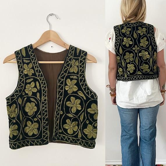 Vintage Heavily Embroidered Ethnic Vest, Afghan Embroidered Vest, BOHO Floral Vest