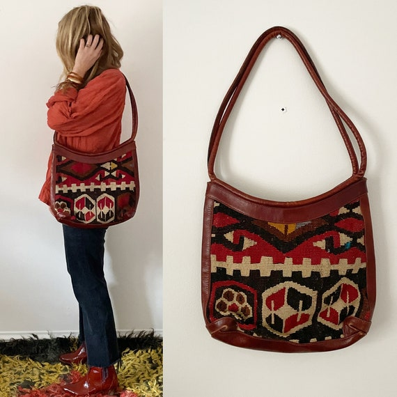 Vintage Turkish Kilim Bag, Ethnic Carpet Purse