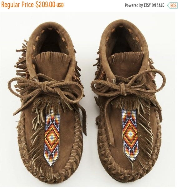 SALE 20% OFF Handmade Leather Beaded Moccasins , Leather Moccasin , Ethnic Moccasin , Handmade Shoes sz 7
