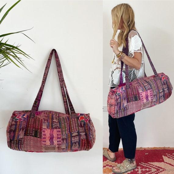 Vintage Ethnic Embroidered Duffle Bag, Guatemalan Patchwork Huipil Weekender