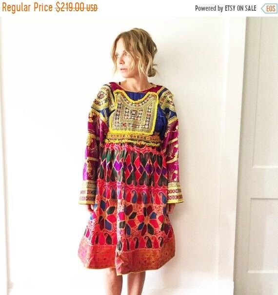 40% OFF SALE Vintage Kuchi Tribal Dress , Embroidered Beaded Silk Afghan Midi Dress