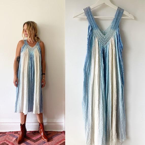 Vintage Grecian Gauze Sun Dress , Grecian Tie Dye Gauze Dress , Cotton Gauze Dip Dyed Midi