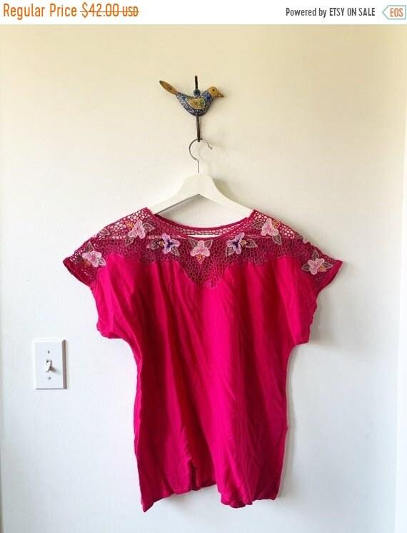 SALE 20% OFF Vintage Bali Lace Blouse , Cutout BOHO Top