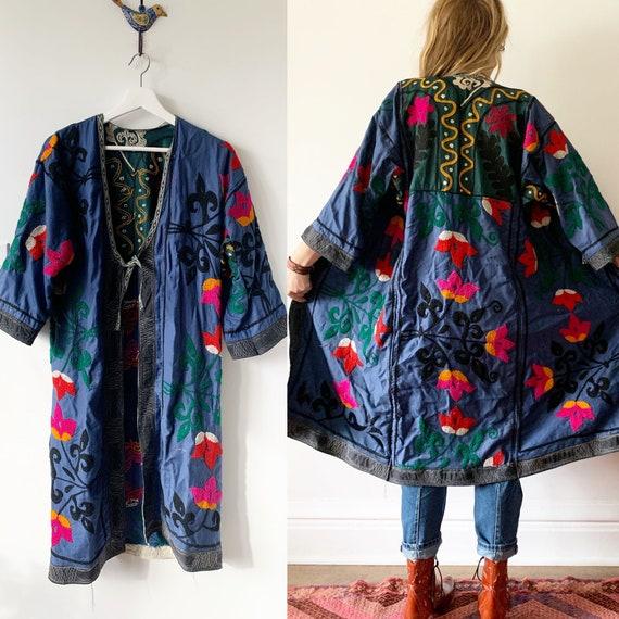 Vintage Embroidered Coat, Uzbek Tribal Coat , Embroidered Kimono Coat