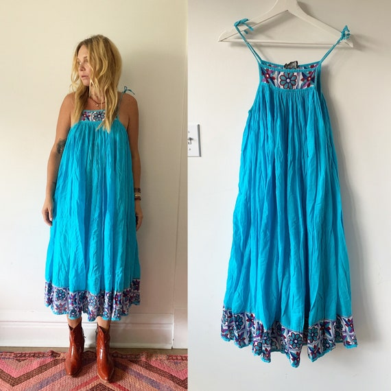 Vintage 70s Indian Cotton  Dress , BOHO Hippie Sun