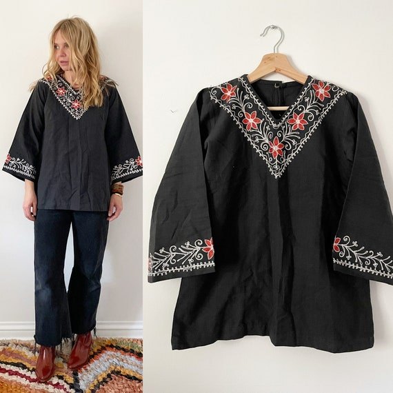 Vintage India Embroidered Blouse , Indian Cotton Embroidered Top