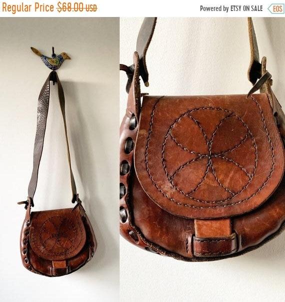 SALE 20% OFF Vintage 60s BOHO Hippie Leather Bag , Mandala Bag
