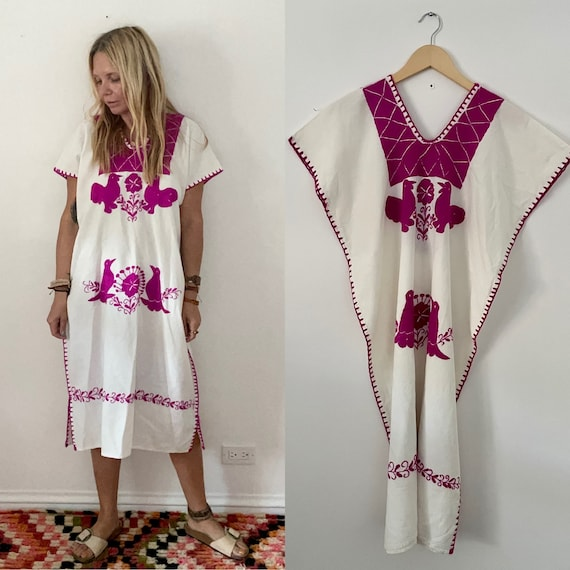 Vintage Hand Embroidered Mexican Huipil Dress , Bird Embroidered Dress, White Mexican Kaftan