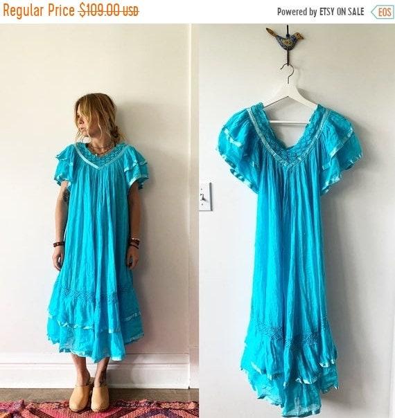 40% OFF SALE Vintage Mexican Gauze Dress, Ethnic Lace Dress , Crochet Cotton Dress