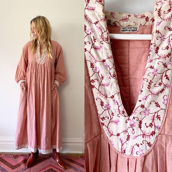 Vintage 70s India Cotton Dress,  Block Print Dress