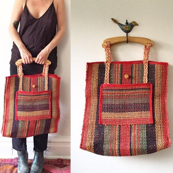 Vintage Mexican Sisal Handbag , Straw Bag , Woven Sisal Market Bag , Oversize Market Bag