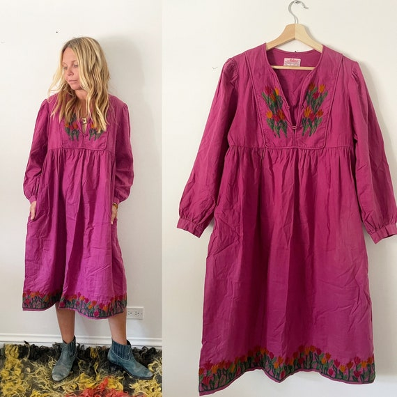 Vintage Rare ADINI Hand Embroidered Indian Cotton Dress , Adini Cotton Midi Dress , Indian Cotton Dress