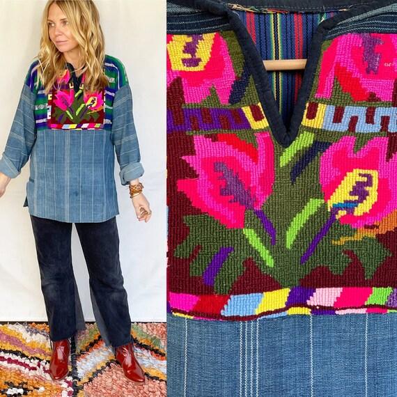 Vintage Guatemalan Indigo Top , Embroidered Ethnic