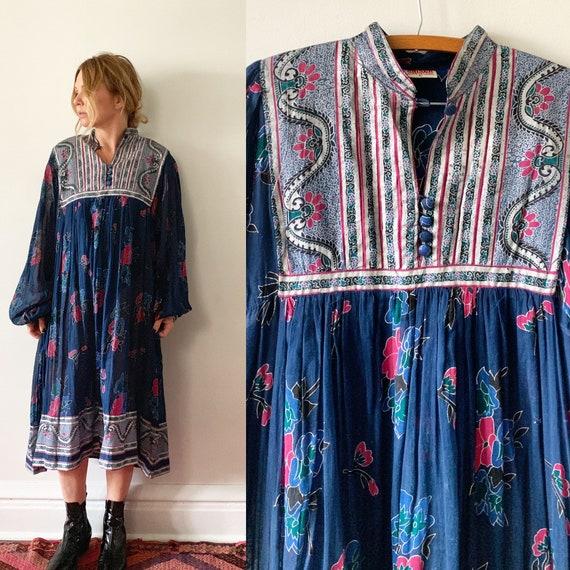 Vintage 70s Cotton Gauze Dress , BOHO Hippie India Dress , Kaiser Dress
