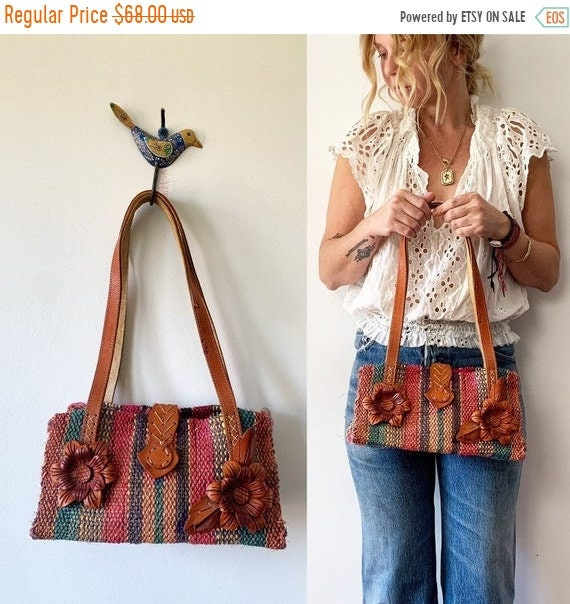 SALE 20% OFF Vintage Mexican Sisal and Leather Handbag , Mini Straw Bag , Woven Sisal Bag