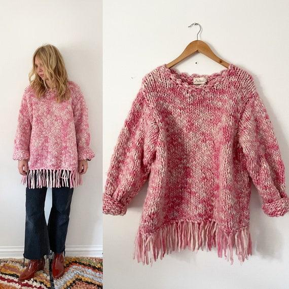 Vintage ADINI Chunky Wool Sweater , Adini fringed