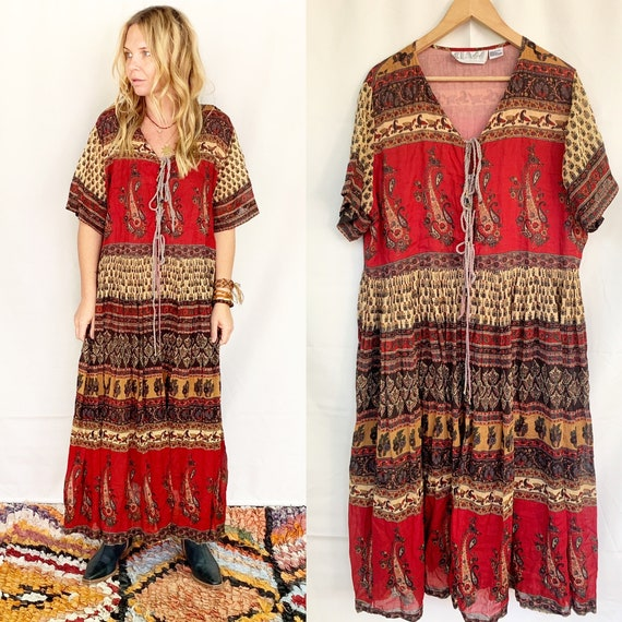Vintage Indian  Gauze Maxi Dress , Indian Cotton Dress , Indian BOHO Dress