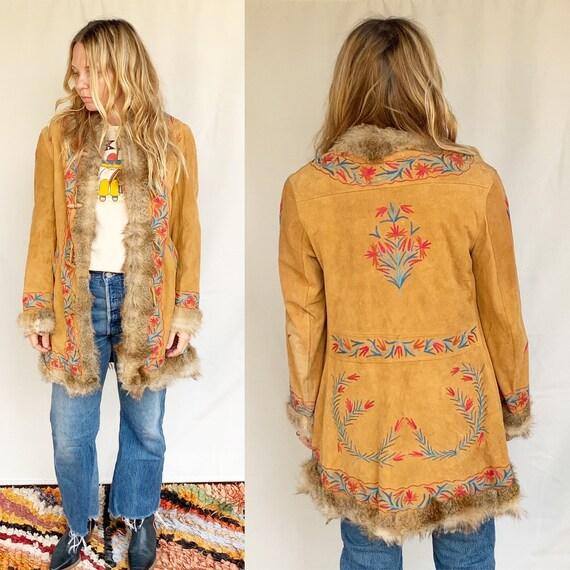 Vintage 70s Afghan Embroidered Ethnic Fur Jacket ,