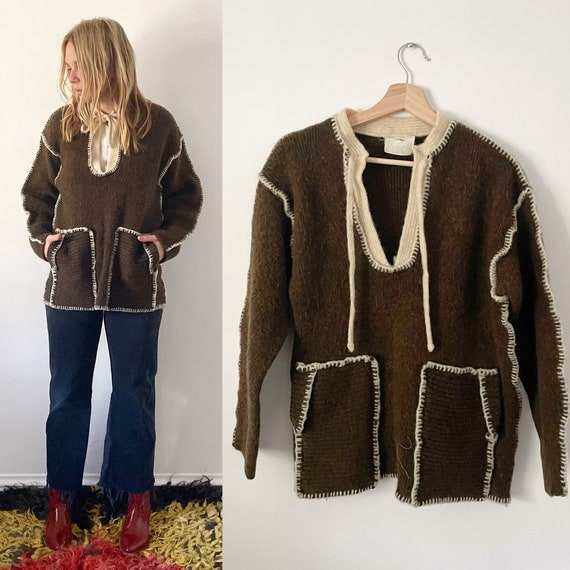 Vintage 70s Knit Pullover , Brown Hand Stitched Sweater