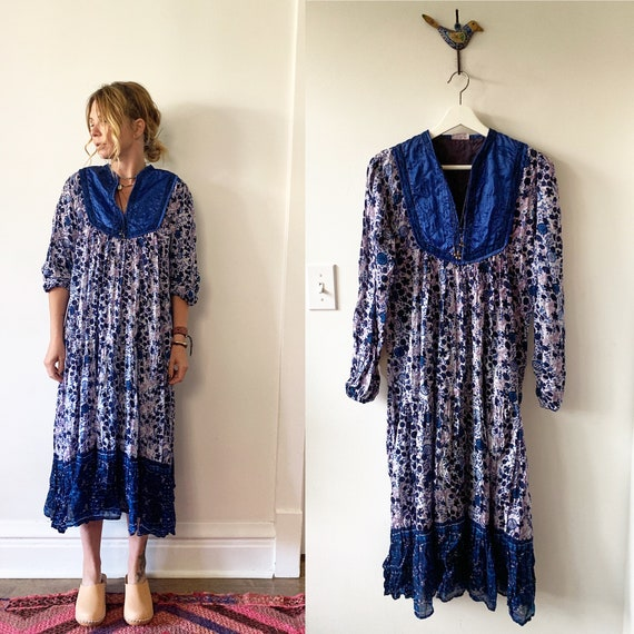 Vintage 70s India Cotton Gauze Dress , BOHO Hippie India Dress