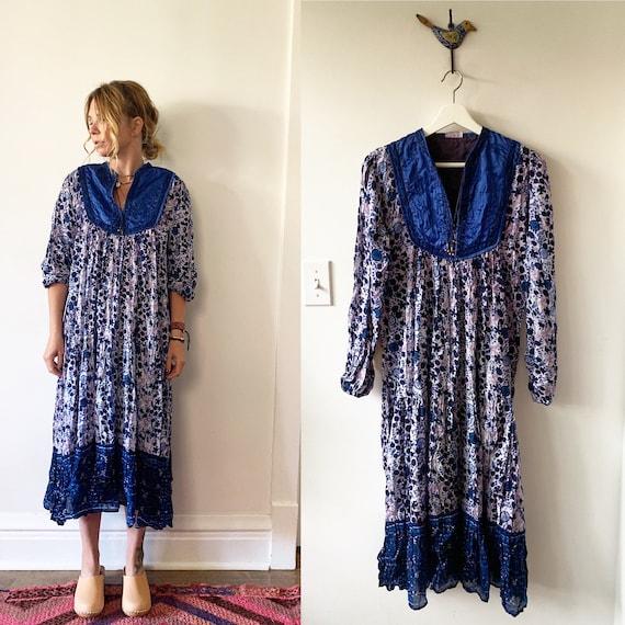 Vintage 70s Indian Cotton Gauze Dress , BOHO Hippie India Dress