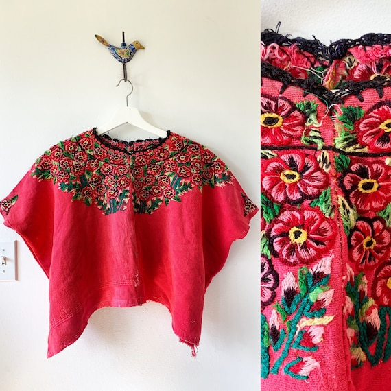 Vintage Guatemalan Huipil Top, Ethnic Embroidered Poncho
