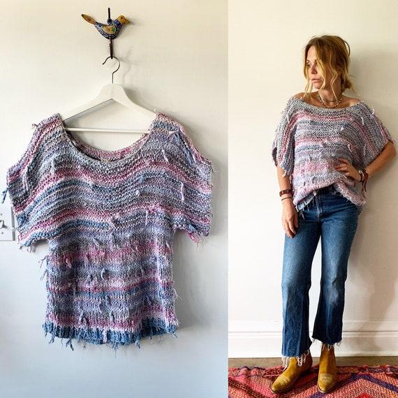 Vintage RARE Adini Rag Rug Sweater , Fiber Art Knit , Adini Sweater, India Sweater