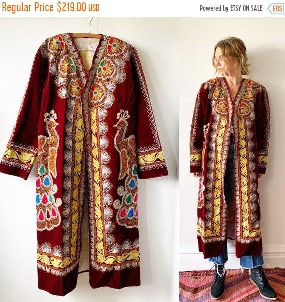 40% OFF SALE Vintage 70s Ethnic Tribal Coat , Embroidered Velvet Coat , Ottoman Long Coat