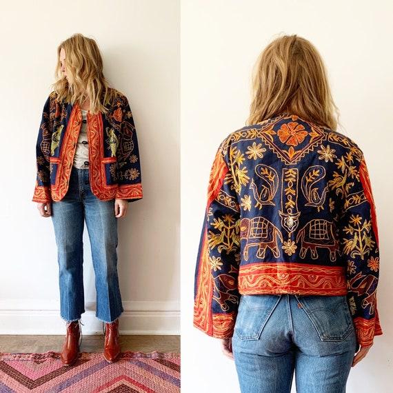 Vintage Ethnic Embroidered Jacket, Mirrored Indian Jacket