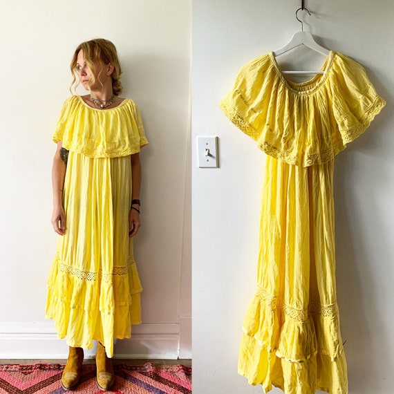 Vintage Mexican Crochet Cotton Gauze Sun Dress