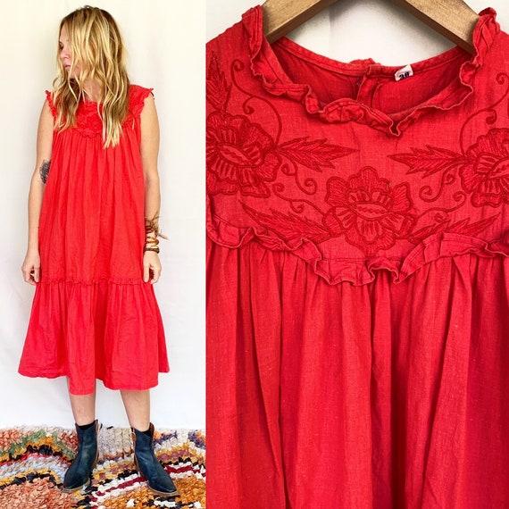 Vintage  Indian Cotton Dress , Embroidered Dress,