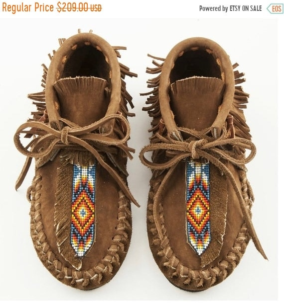 40% OFF SALE Handmade Leather Beaded Moccasins , Leather Moccasin , Ethnic Moccasin , Handmade Shoes sz.7