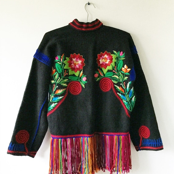 Vintage Embroidered Wool Guatemalan Bolero , Embroidered Ethnic Jacket , Friend Cropped Jacket