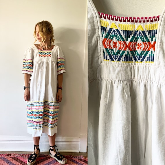 Vintage Embroidered Guatemalan Kaftan, Hand Loomed Dress , Cotton Midi Dress , Ethnic Kaftan