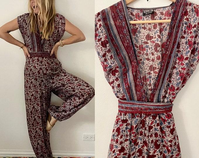 Vintage RARE Indian Cotton Gauze Lurex Jumpsuit , India Gauze Playsuit , Indian Cotton One Piece , Indian Block Print Jumpsuit