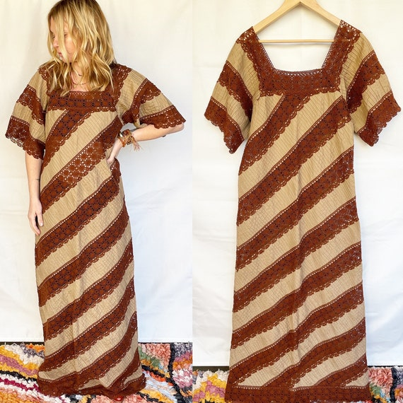 Vintage Mexican Laced Maxi Dress , Mexican Crochet