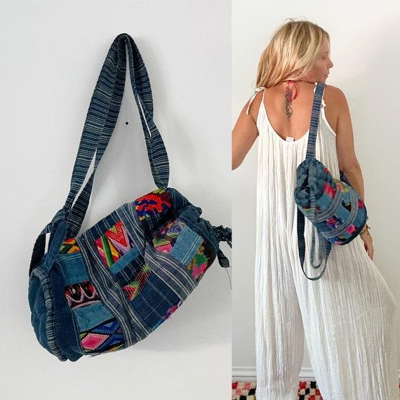 Vintage Ethnic Textile Bucket Bag, Guatemalan Textile Backpack , Guatemalan Patchwork Indigo Backpack