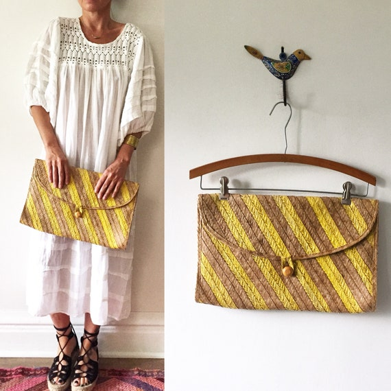 Vintage Straw Clutch , Oversize Clutch, Summer Bag