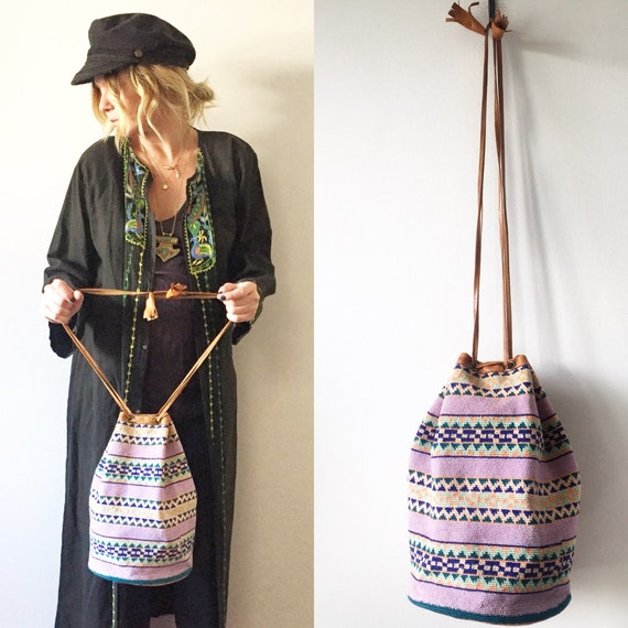 Vintage Ethnic Woven Bucket Bag, Leather Textile Bag , Crochet Leather Bag