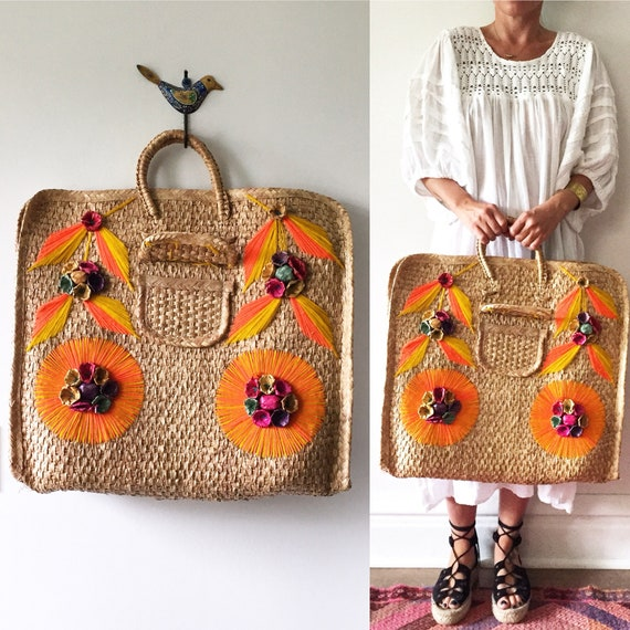 Vintage Mexican Straw Beach Bag , Straw Summer Bag , Market Bag