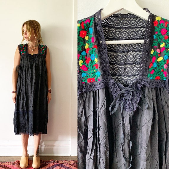 Vintage 70s Sheer Mexican Dress , Embroidered Mexican Dress , Laced Mexican Midi Dress