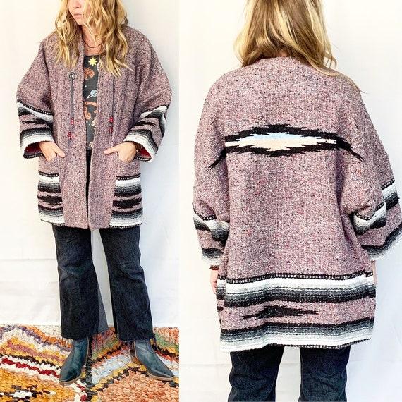 Vintage Southwestern Blanket Coat , Cotton Blanket