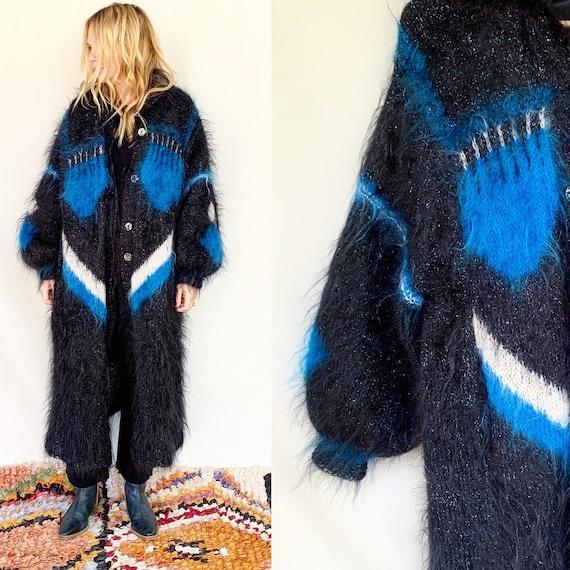 Vintage Mohair Lurex Sweater Coat , Oversize Cardi