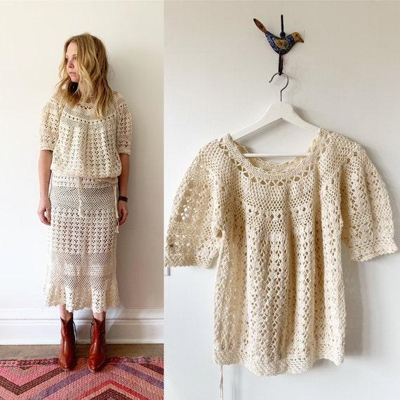 Vintage Crochet Midi Set , Vintage Knit Dress