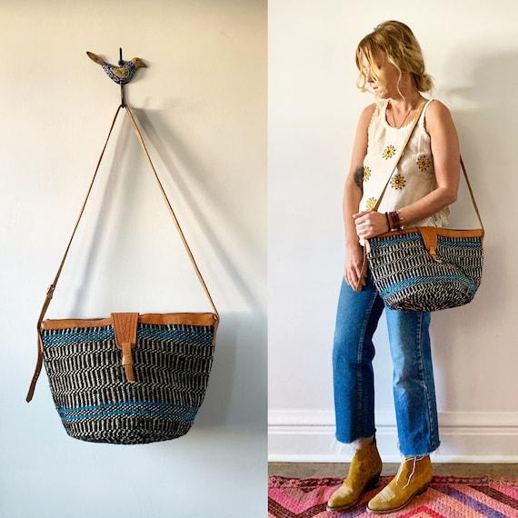 Vintage Woven African Bag , Wool Jute Bag , Sisal Bag