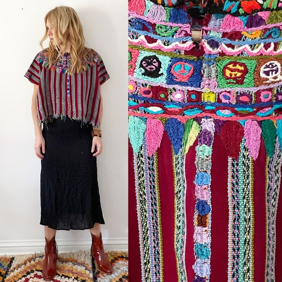 Vintage Guatemalan Huipil , Embroidered Ethnic Top